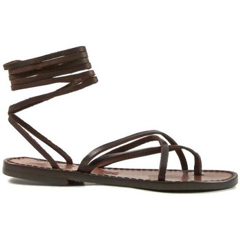 Schuhe Damen Sandalen / Sandaletten Gianluca - L'artigiano Del Cuoio 514 D MORO CUOIO Testa di Moro