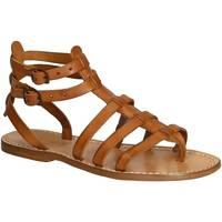 Schuhe Damen Sandalen / Sandaletten Gianluca - L'artigiano Del Cuoio 506 D CUOIO CUOIO Cuoio