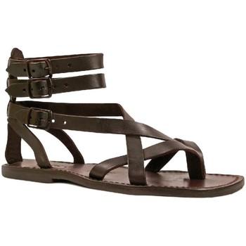 Schuhe Herren Sandalen / Sandaletten Gianluca - L'artigiano Del Cuoio 564 U MORO CUOIO Testa di Moro
