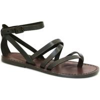 Schuhe Damen Sandalen / Sandaletten Gianluca - L'artigiano Del Cuoio 584 D MORO CUOIO Testa di Moro