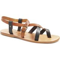 Schuhe Damen Sandalen / Sandaletten Gianluca - L'artigiano Del Cuoio 530 U MORO-CUOIO LGT-CUOIO Testa di Moro