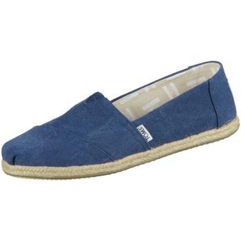 Schuhe Damen Leinen-Pantoletten mit gefloch Toms Slipper Alpargata 10009758 navy washed Canvas 10009758 blau