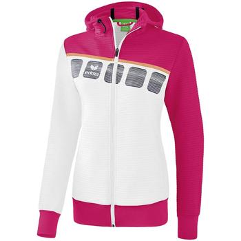 Kleidung Kinder Trainingsjacken Erima Veste d'entrainement à capuche enfant blanc/bleu cliar