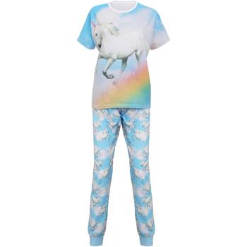 Kleidung Damen Pyjamas/ Nachthemden Christmas Shop Unicorn Hell Blau Einhorn