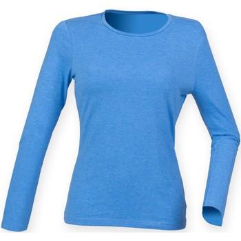 Kleidung Damen Langarmshirts Skinni Fit SK124 Blau meliert
