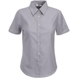 Kleidung Damen Hemden Fruit Of The Loom 65000 Oxford Grau
