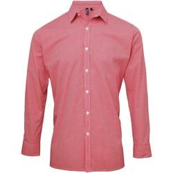 Kleidung Herren Langärmelige Hemden Premier Microcheck Rot/Weiß