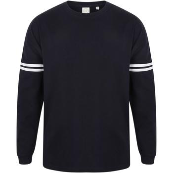Kleidung Herren Langarmshirts Skinni Fit Slogan Oxford Blau/Weiß gestreift