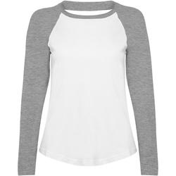 Kleidung Damen Langarmshirts Skinni Fit SK271 Weiß/Grau meliert