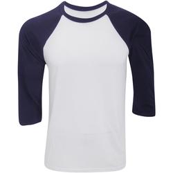 Kleidung Herren Langarmshirts Bella + Canvas CA3200 Weiß/Marineblau