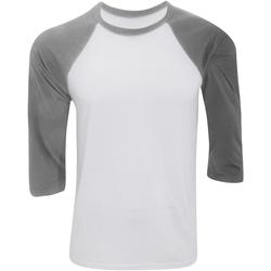 Kleidung Herren Langarmshirts Bella + Canvas CA3200 Weiß/Dunkelgrau meliert