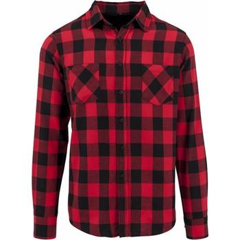 Kleidung Herren Langärmelige Hemden Build Your Brand BY031 Schwarz/Rot