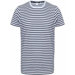 Kleidung T-Shirts Skinni Fit SF202 Weiß/Marineblau