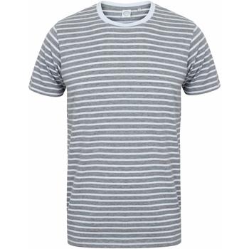 Kleidung T-Shirts Skinni Fit SF202 Grau meliert/Weiß