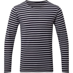 Kleidung Herren Langarmshirts Asquith & Fox AQ070 Marineblau/Weiß