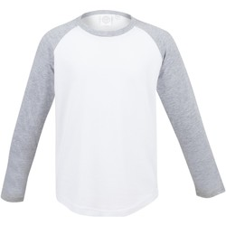 Kleidung Kinder Langarmshirts Skinni Fit SM271 Weiß/Heather Grau