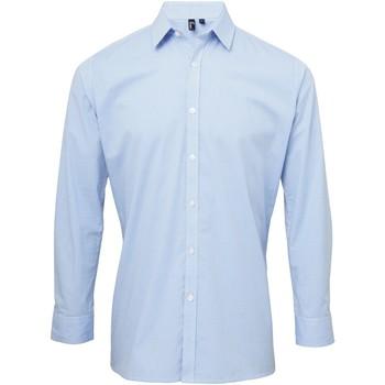 Kleidung Herren Langärmelige Hemden Premier Microcheck Hellblau/Weiß