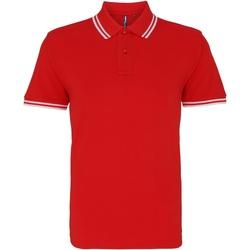Kleidung Herren Polohemden Asquith & Fox AQ011 Rot/Weiß