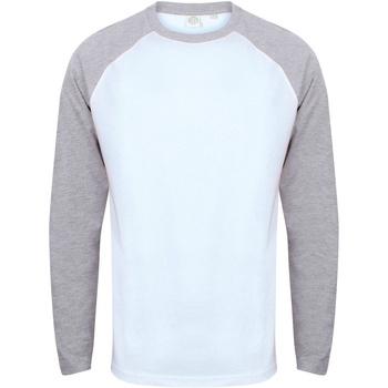 Kleidung Herren Langarmshirts Skinni Fit SF271 Weiß/Grau meliert
