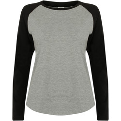 Kleidung Damen Langarmshirts Skinni Fit SK271 Grau meliert/Schwarz