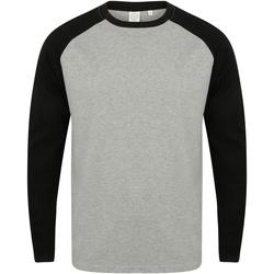 Kleidung Herren Langarmshirts Skinni Fit SF271 Grau meliert/Schwarz