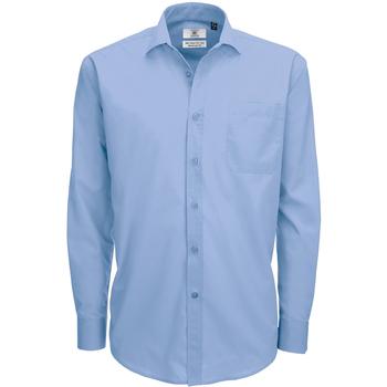 Kleidung Herren Langärmelige Hemden B And C SMP61 Business Blau