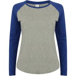 Kleidung Damen Langarmshirts Skinni Fit SK271 Grau meliert/Royal