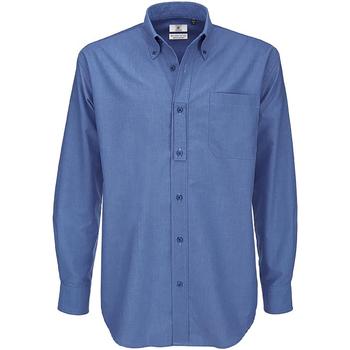 Kleidung Herren Langärmelige Hemden B And C SMO01 Blau