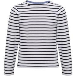 Kleidung Kinder Langarmshirts Asquith & Fox AQ074 Weiß/Marineblau
