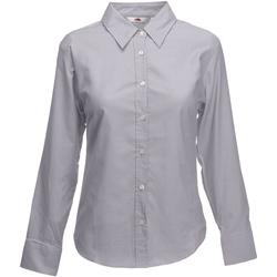 Kleidung Damen Hemden Fruit Of The Loom 65002 Oxford Grau