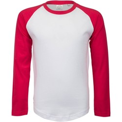 Kleidung Damen Langarmshirts Skinni Fit SK271 Weiß/Magenta