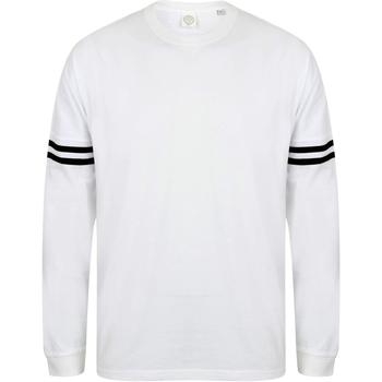 Kleidung Herren Langarmshirts Skinni Fit Slogan Weiß/Schwarz gestreift