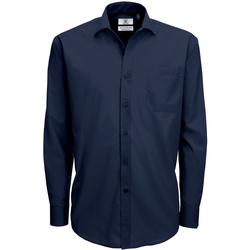 Kleidung Herren Langärmelige Hemden B And C SMP61 Marineblau