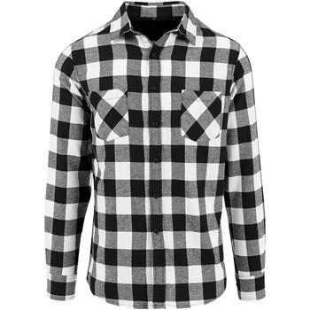 Kleidung Herren Langärmelige Hemden Build Your Brand BY031 Schwarz/Weiß