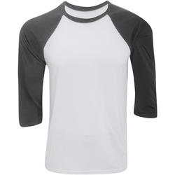 Kleidung Herren Langarmshirts Bella + Canvas CA3200 Weiß/Dunkelgrau