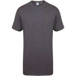 Kleidung Herren T-Shirts Skinni Fit Dipped Hem Graphit Meliert