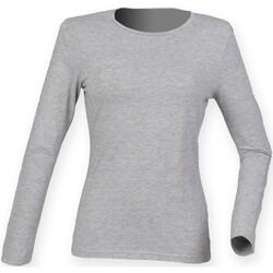 Kleidung Damen Langarmshirts Skinni Fit SK124 Hellgrau