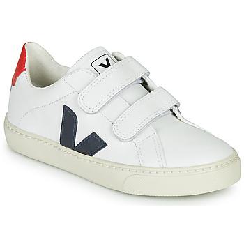 Schuhe Kinder Sneaker Low Veja SMALL-ESPLAR-VELCRO Weiss / Blau / Rot