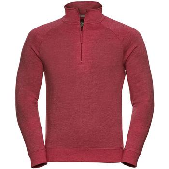 Kleidung Herren Fleecepullover Russell 1/4 Zip Rot Meliert