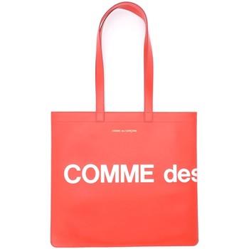 Taschen Damen Shopper / Einkaufstasche Comme Des Garcons Comme Des Garçons Shopper Wallet Huge Logo in Leder Rot Rot