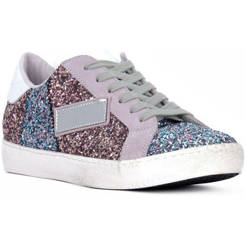 Schuhe Damen Sneaker Low At Go GO GLITTER NEWBIG Bianco