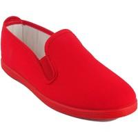 Schuhe Damen Sneaker Low Bienve Leinwand Dame  102 rot Rot