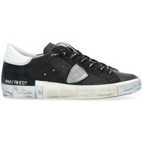 Schuhe Damen Sneaker Low Philippe Model Sneaker Paris X in schwarzem Leder mit silbernem Detail Schwarz