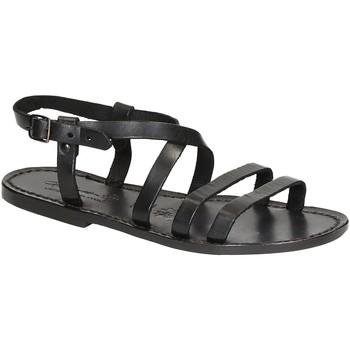 Schuhe Damen Sandalen / Sandaletten Gianluca - L'artigiano Del Cuoio 531 D NERO CUOIO nero