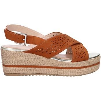 Schuhe Damen Leinen-Pantoletten mit gefloch Chika 10 DONA 07 Marr?n