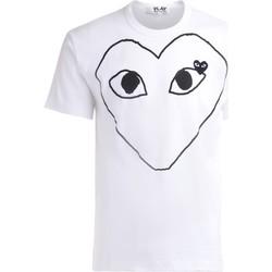 Kleidung Herren T-Shirts Comme Des Garcons T-Shirt  in weißer Baumwolle vorne Weiss