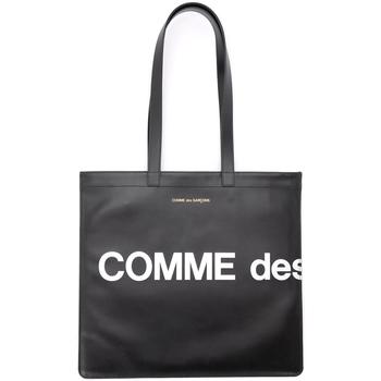 Taschen Damen Umhängetaschen Comme Des Garcons Comme Des Garçons Shopper Wallet Huge Logo in Leder Schwarz Schwarz