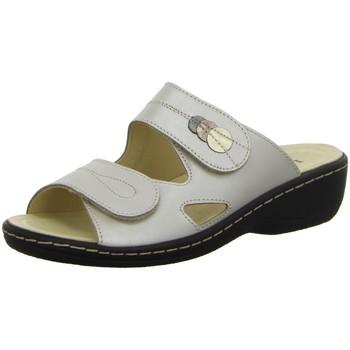Schuhe Damen Pantoffel Longo Pantoletten Pantolette aus Perlatoleder in Taupe 1044836 weiß