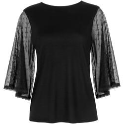Kleidung Damen Tops / Blusen Lisca Soft Spot  Wange dreiviertelarmiges T-Shirt Perlschwarz