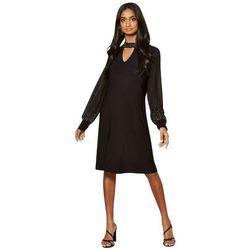 Kleidung Damen Kurze Kleider Anastasia Chiffon verziertes gefüttertes Kleid Black